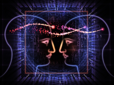 Interplay of head outlines, lights and abstract design elements on the subject of intelligence, consciousness, logical thinking, mental processes and brain power